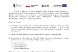 """Miniaturka artykułu Umowa w sprawie realizacji projektu """"Zanim będę uczniem"""""""